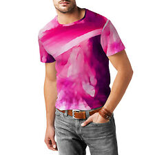 Pink Abstract Watercolor Mens Cotton Blend T-Shirt XS - 3XL Sublimation All-Over