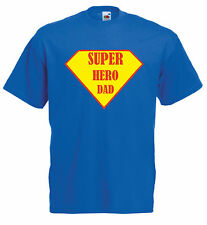 SUPER HERO DAD Fathers day present Men's Fruit of the Loom crew neck T shirt.