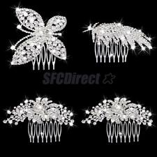 Wedding Bridal Jewelery Rhinestone Crystal Flower Leaf Silver Hair Comb Clip