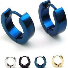 Men's Stainless Steel Classic Plain Cambered Stud Huggie Hinged Hoop Earrings