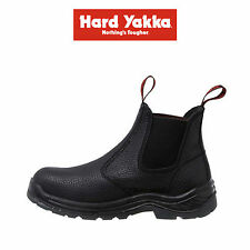 Mens Hard Yakka Leather Black Work Boots Elastic Side Steel Cap Safety Y60002