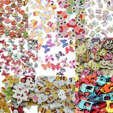 100/50pcs Mixed Colored Drawing Wood Buttons for Sewing Scrapbooking DIY Craft