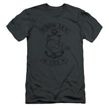 Popeye Men's  Strong Arm Mc Slim Fit T-shirt Grey Rockabilia