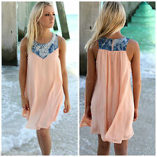 BOHO Ladies Sleeveless Party Tops Womens Summer Beach Swing Dress UK Size 6-14