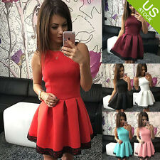 Lady Sleeveless Skirt Dress Ladies Evening Party Mini Skater Dress Size 6-14 US