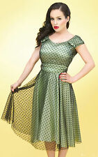 Stop Staring! - Green Satin Cocktail Swing Dress.  New With Several Sizes.