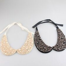 Chic Women Ribbon Rhinestone Pearl Collar Necklace Statement Bib Choker Necklace
