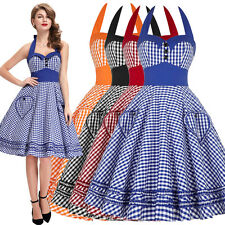 Sexy Vintage Style 50s 60s Swing Dress Cocktail Party Housewife Pinup Halter