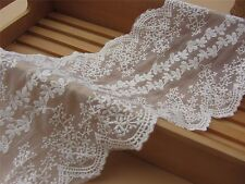 1yard cotton lace trim,DIY embroidered floral lace trim,off  white trimming-024