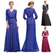 New 3/4 Sleeve Long Mother of The Bride Dresses Lace Formal Evening Wedding Gown