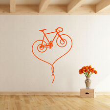 Fixie Bicycle Heart Vinyl Wall Decal track bike removable art sticker K622-W