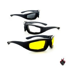 1, 2 or 3 Pairs Combo Foam Padded Motorcycle Riding Glasses Clear Smoke Yellow