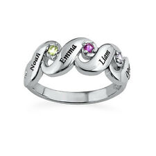Birthstone Ring, Sterling Silver 4 Stone Ring, Personalized Mom Ring