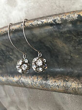Sterling Silver Vintage Art Deco Rhinestone Ball Dangle Drop earrings