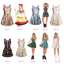 Cute Ice Cream Popsicles Reversible  Shiny Stretchy One Piece Skater Dress