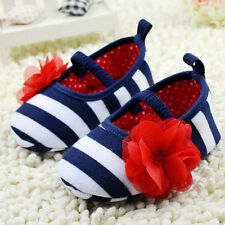 New Princess Baby Girls Knitted Cotton Soft Sole Flower Stripes Crib Shoes S M L