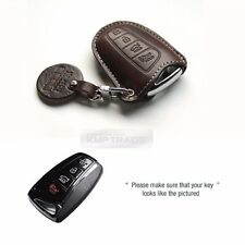 4Button Stitched Smart Key Leather Case Cover Holder Pouch HMD-3 for HYUNDAI Car