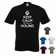 'Keep Calm and Walk the Hound' Mens funny Pet Dog Gift T-shirt. S-XXL