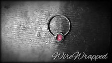 Real PINK TOURMALINE Septum Nose Nipple Ring Hoop 14k Solid Gold Cabochon Silver