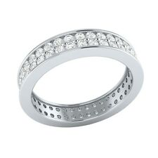 1.15 ct Round Cut D/VVS1 18k Solid White Gold Full Eternity Wedding Band Ring