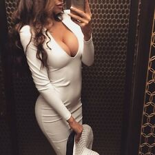 Sexy Women Plunge V Neck Bodycon Sheath Knee Length Pencil Office Party Dress