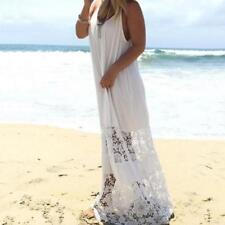 Womens BOHO Beach Dress Casual Loose Backless Lace Straps Maxi Long Dress White