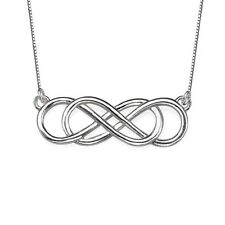 925 Sterling Silver Double Infinity Necklace forever love