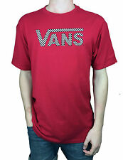 VANS. Authentic Mens T-Shirt. Red / Checked Logo 100% Cotton. Sizes Medium, Larg