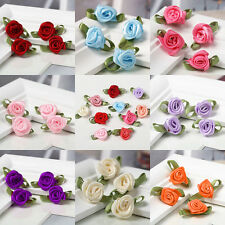 100pcs Mini Satin Ribbon Rose Flower Leaf Wedding Decor Appliques Sewing Craft