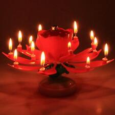2 Pieces Flower Romantic Musical Lotus Rotating Candle Happy Party Cake Birthday