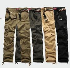 Men's Military hiking work Cargo cotton overalls Casual Loose Trousers Pants SZ