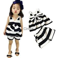 Black and White Stripes Sleeveless Cute Baby Girls Bowknot T-shirt and Pants