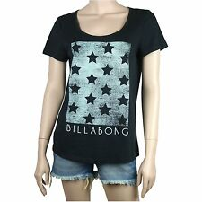 BILLABONG Ladies STARGAZE Black Loose Fit Tee T Shirt Top (8) NEW