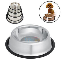 4 Sizes Stainless Steel Non Slip Pet Dog Cat Puppy Feeding Bowls Food Water Dish