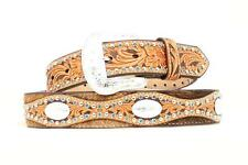 Nocona Western Belt Mens Leather Scallop Tooled Brown N249960 Size 34