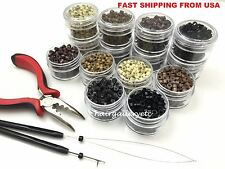 250 SILICONE MICRO BEADS Feather Hair Extension TOOL KIT PLIERS LOOP HOOK USA