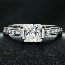 14k White Gold Plated Brass Solitaire Princess Cubic Zirconia Engagement Ring