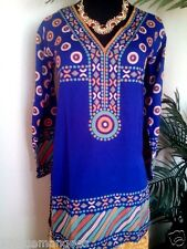 Women Indian tunic Pakistani kurti crepe kurta ethnic TOP boho blouse  free ship