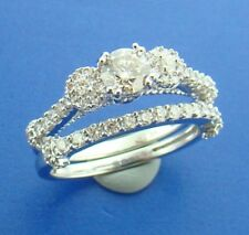 Diamond Bridal Ring Set 14K White Gold Round Three Stone Engagement Band 3/4 Ct