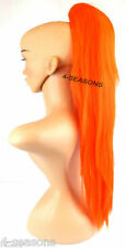 Neon Orange Straight Claw Clip In On Ponytail Hair Piece Extensions 26