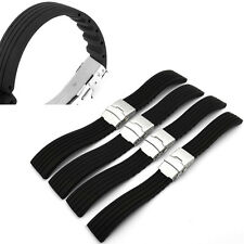 New Black Silicone Rubber Watch Strap Band Deployment Buckle Waterproof 18-24mm