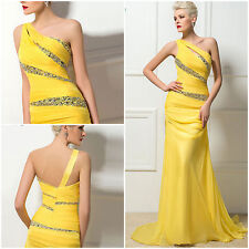 Yellow Trumpet Mermaid Evening Dress One Shoulder Beaded Sequin Long Prom Party