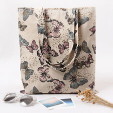 L230 Simple Fabric Bag ECO Cotton Linen Shoulder Shopping Tote Bag Butterfly F
