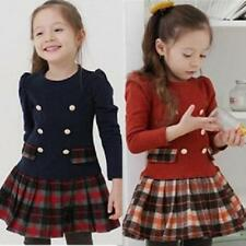 New Kids Toddlers Girls Lovely Plaid Long Sleeve Cotton Tutu Dress Age 2-7Y