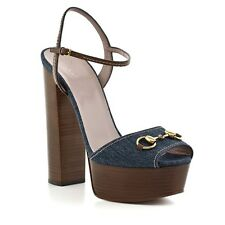 Gucci Stone blue denim and nut brown leather platform sandals EU 39
