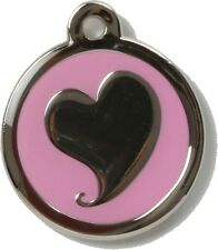 Bow Wow Pet Tag Dog Cat ID Laser Engraved Silver Heart