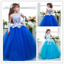 New  Kids Party Princess Pageant Bridesmaid Wedding Flower Girl Dress Royal blue