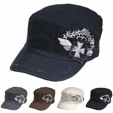 Distressed Vintage Cross Patch Military Hats Army Cadet Cotton Caps Elastic Back