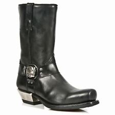 NEWROCK New Rock 7965-S1 Black Western Cowboy Gothic Biker Leather Boots Shoes
