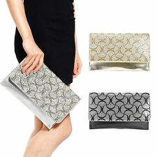 Diamante Crystal Cover Flap Evening Bag PU Leather Clutch Prom Wedding Purse